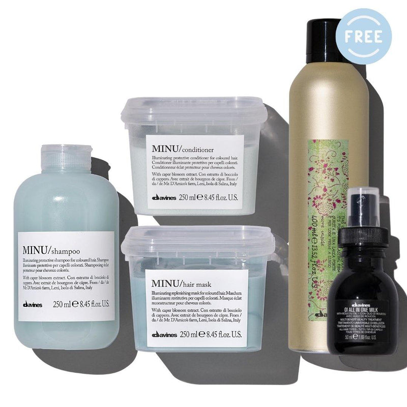 Davines MINU Shampoo + Conditioner + Hair Mask I Free OI Milk 50ml + More Inside Strong Hairspray - DAVINES I SUSTAINABLE BEAUTY
