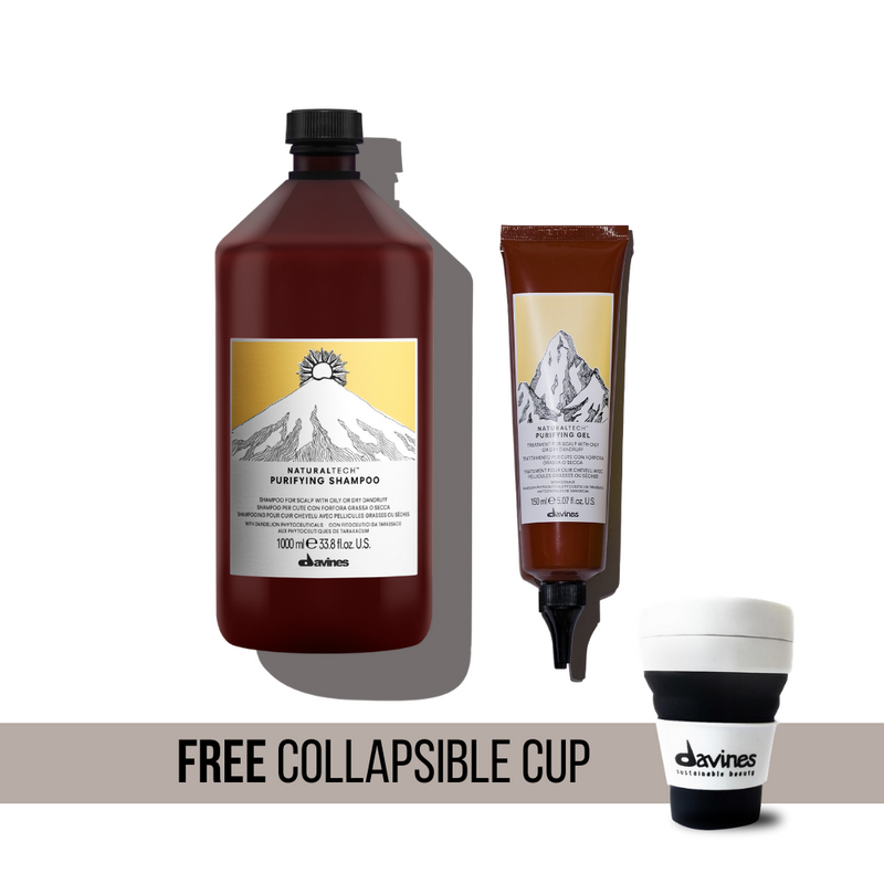 Flake Free Therapy I Davines NaturalTech Purifying Shampoo 1000ml + Gel + Free Davines Collapsible Cup from The Sustainable Planet