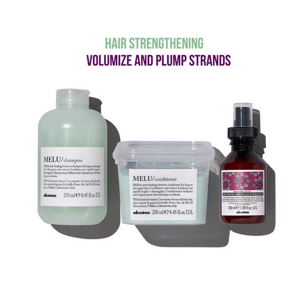 Davines Melu Shampoo + Conditioner + Replumping Hair Filler Leave-In Superactive