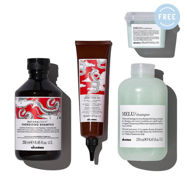 Davines ENERGIZING Shampoo + Gel + MELU Shampoo I Free MELU Conditioner - DAVINES I SUSTAINABLE BEAUTY