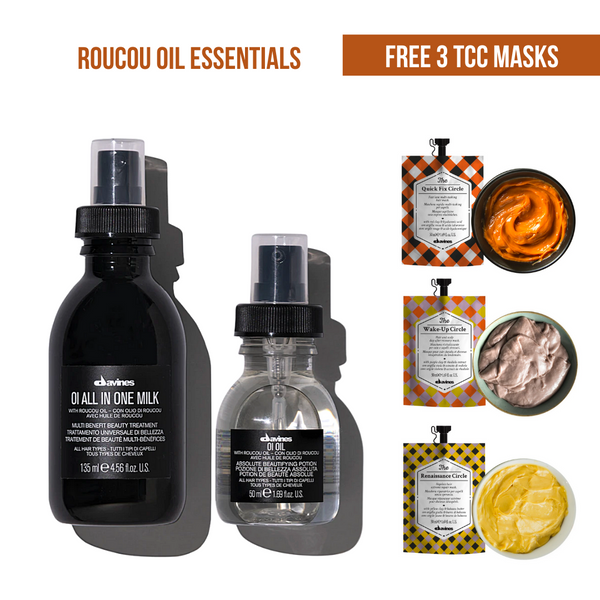 Roucou Oil Essentials I OI All-In-One Milk + OI Oil 50ml + Free 3 TCC Hair Masks