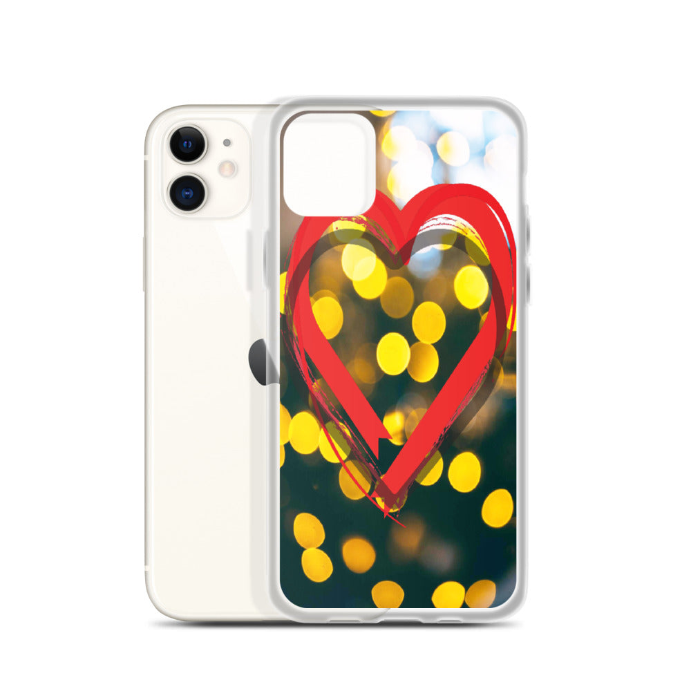 red heart with lights phone case