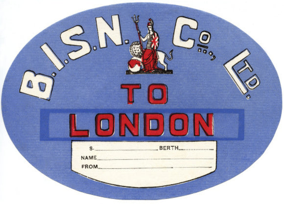 Baggage label -  B.I. to London