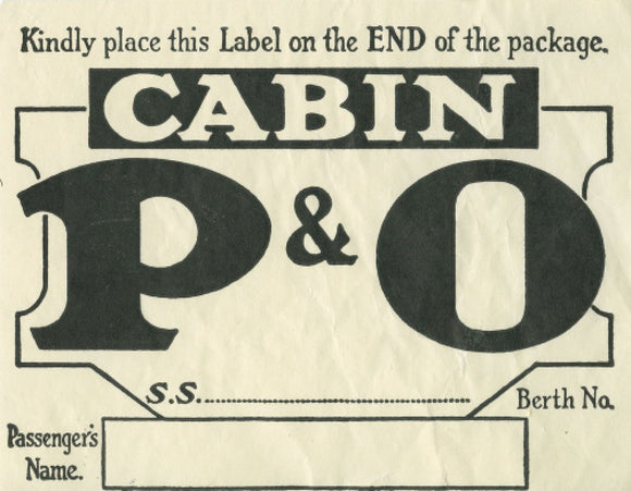 P&O Cabin Baggage Label