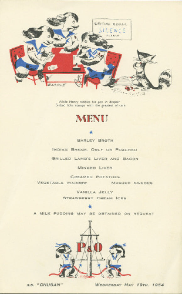 Children's menu from the 'P&O Pups' series