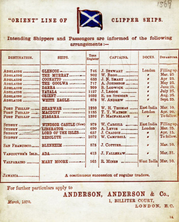 Orient Line card for passage to Adelaide
