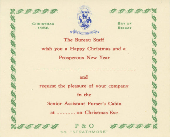 Christmas Invitation STRATHMORE, 1956