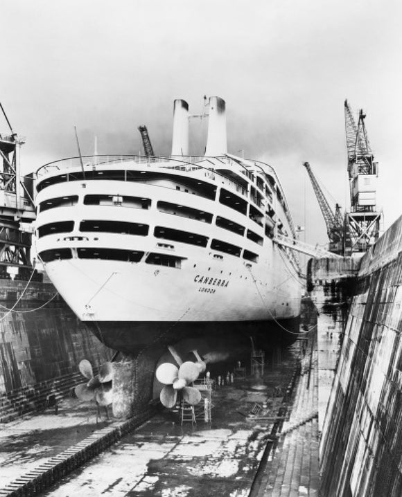 CANBERRA in dry-dock at Southampton
