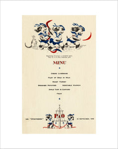 'P&O Pups' children's menu