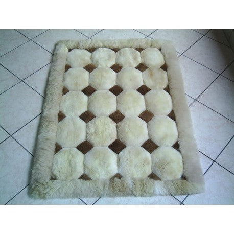 Brown and White Alpaca Rug.