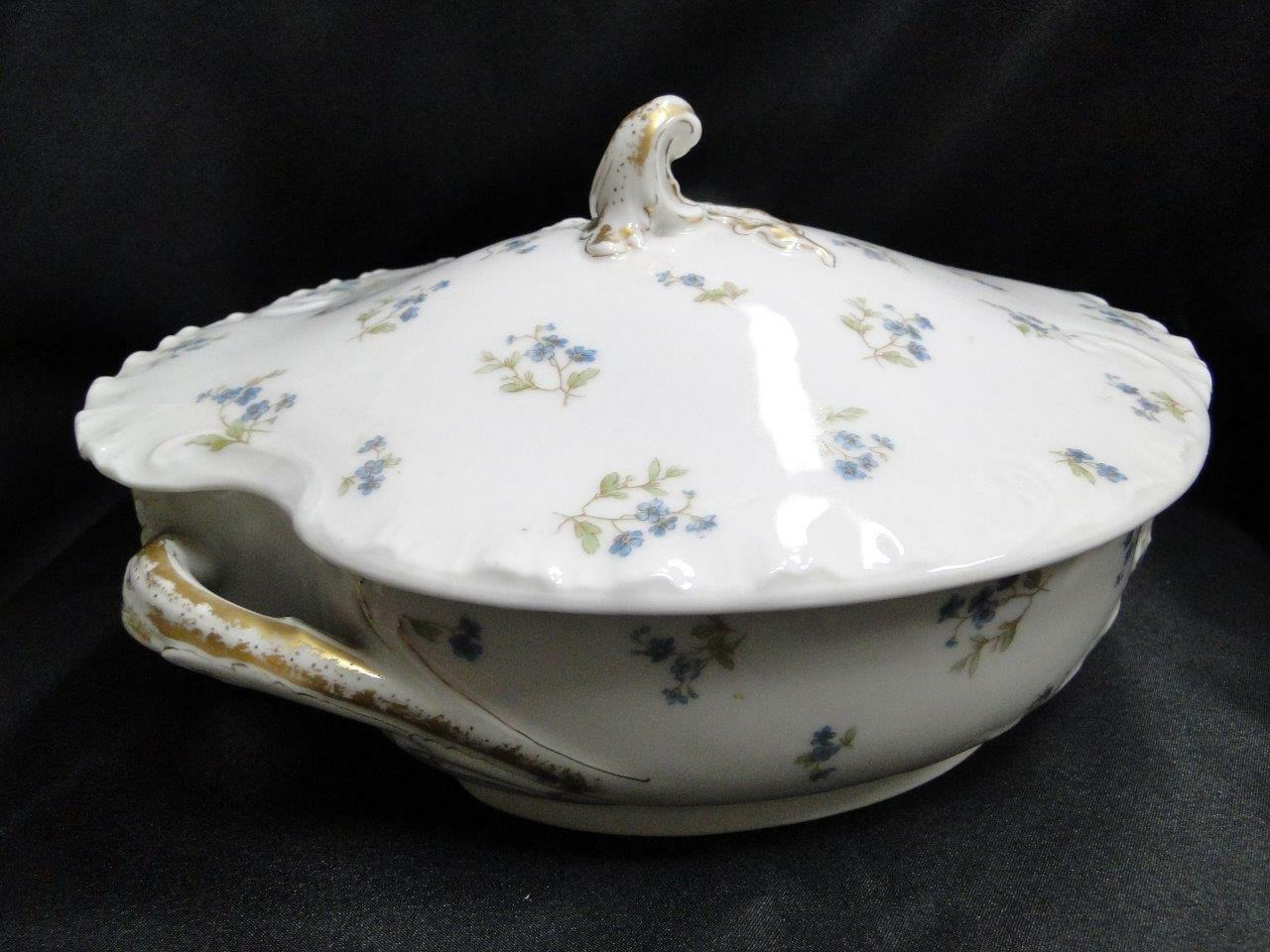Haviland (Limoges) H3616, Blank 9, Small Blue Flowers: Oval Covered Serving Bowl AS IS