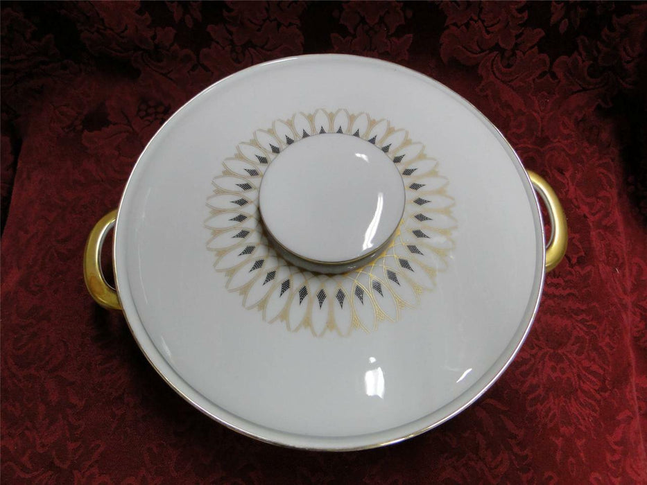 Eschenbach White with Gold & Black Design: Round Covered Vegetable Bowl