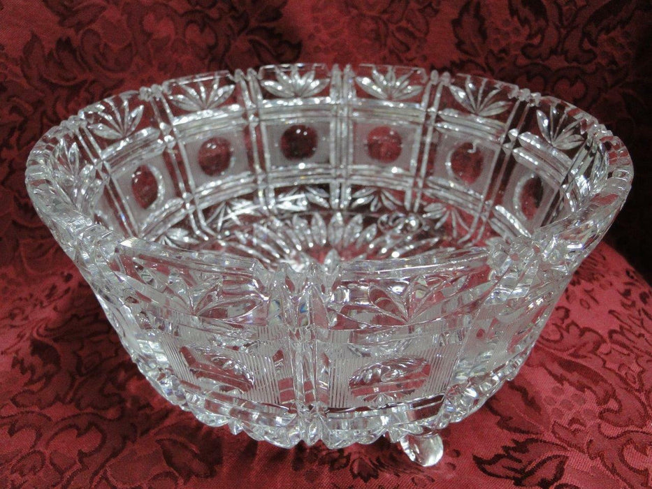 "Cut Glass Panelled, 3 Toed Round Bowl with Circles and Fans, 9"" AS IS"