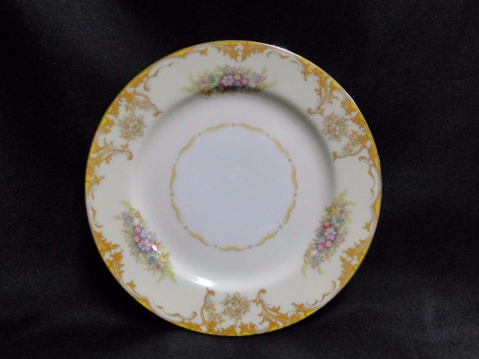 Noritake Yellow Edge, Tan Scrolls, Gold & Color Florals: Bread Plate (s) 6 3/8""