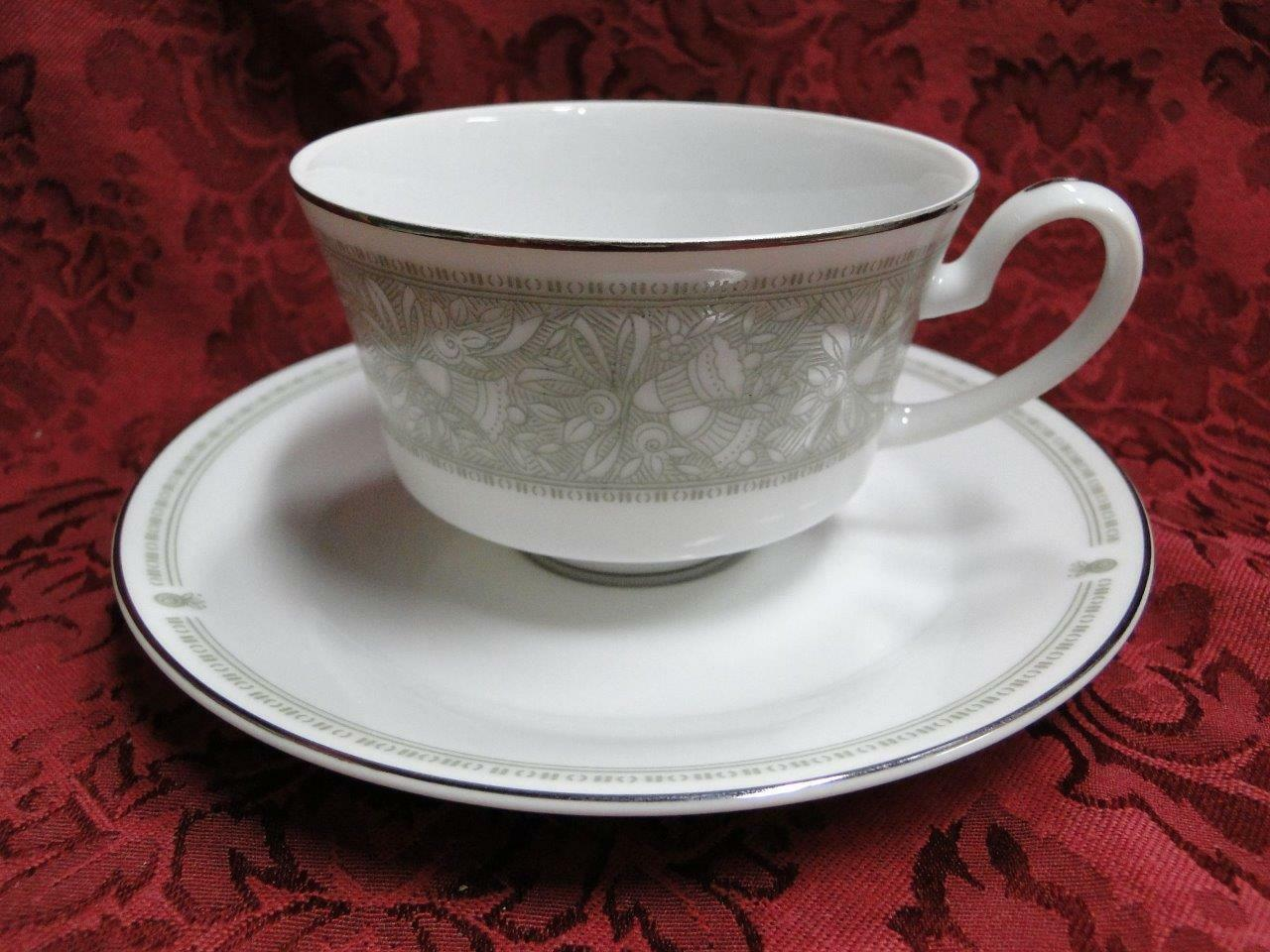 Mikasa Chapel, Green Bells on White with Platinum: Cup and Saucer Set (s)