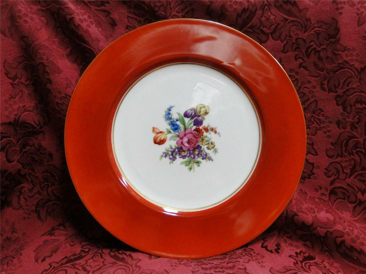 Noritake N1138 Rust Rim, Floral Center on White: Dinner Plate (s), 11""