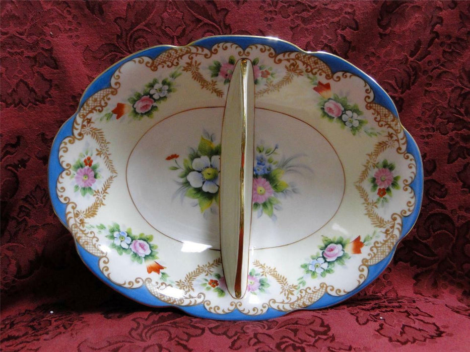 "Noritake Multicolored Floral w/ Blue Edge: 2 Part Divided Dish, 10 3/8"",  As Is"