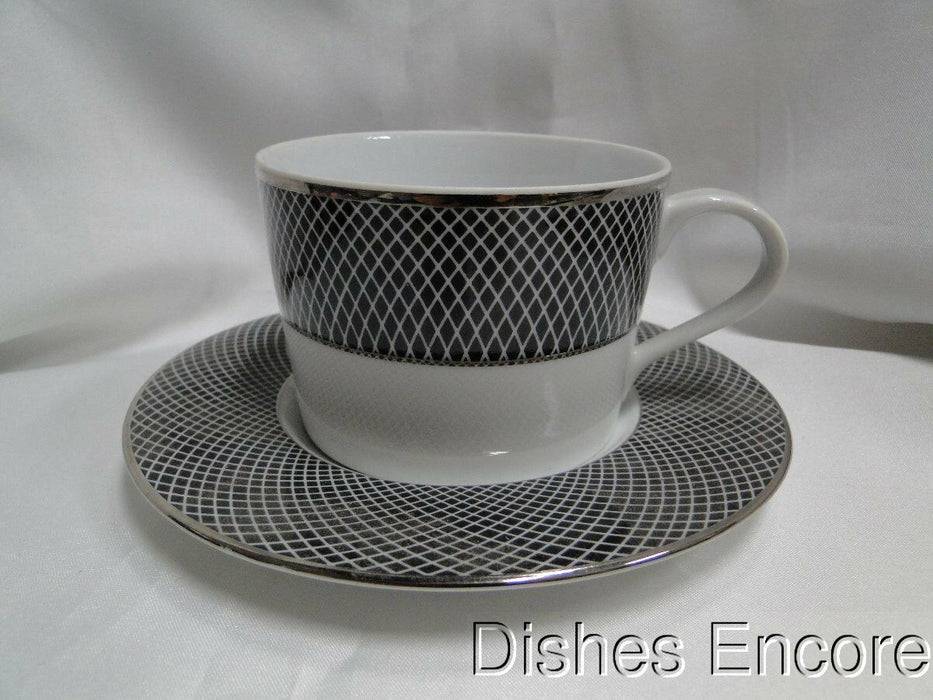 Block Midnight, Portugal, Black/White Rim with Platinum: Cup & Saucer Set (s)