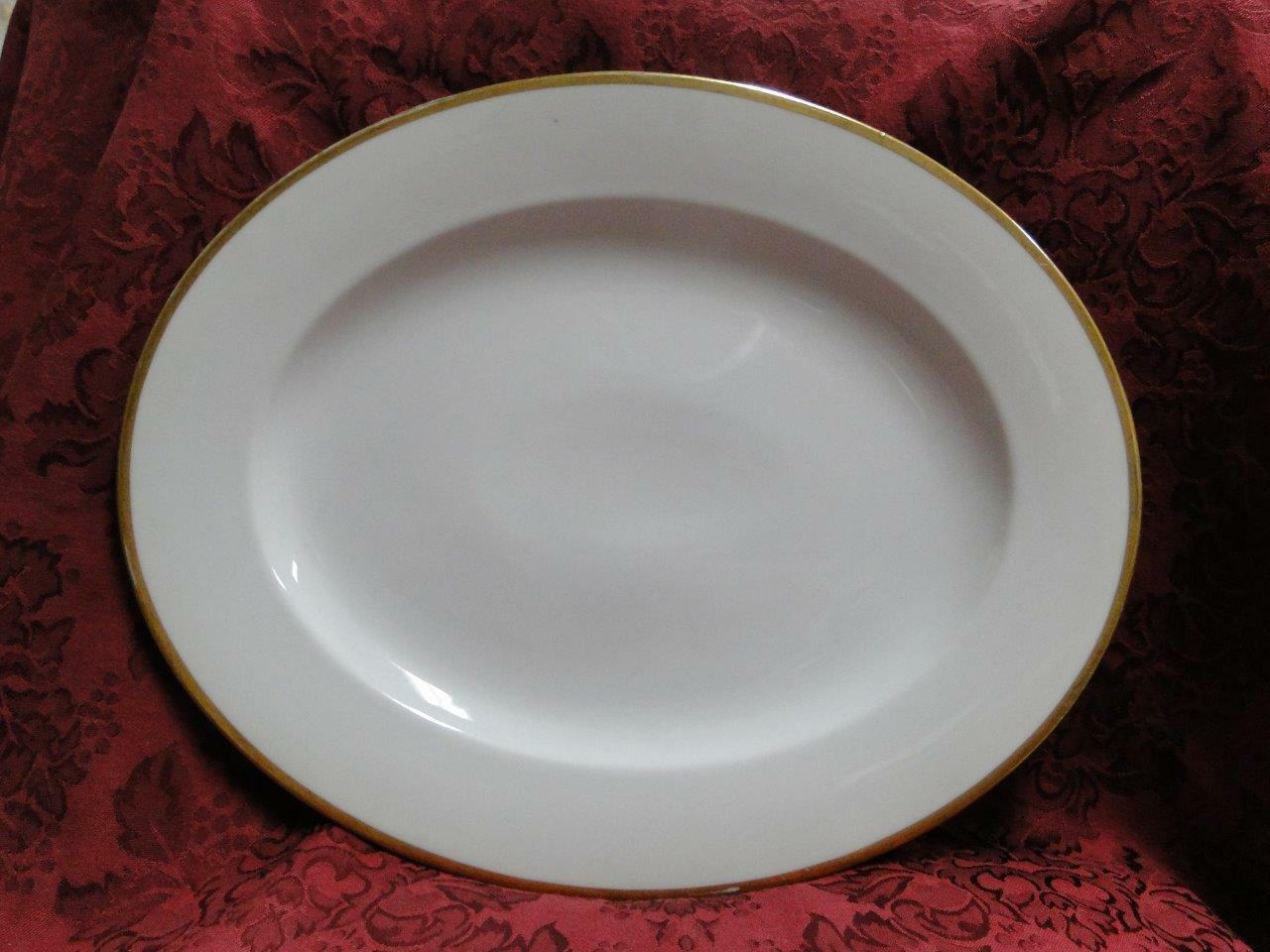 Tirschenreuth Colonial, White w/ Smooth Gold Band: Oval Serving Platter, 14 3/8""