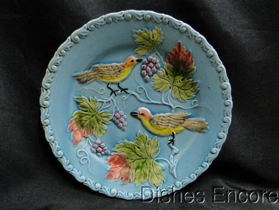 Black Forest Art Pottery, Germany, Majolica, Birds & Grapes: Salad Plate AS IS