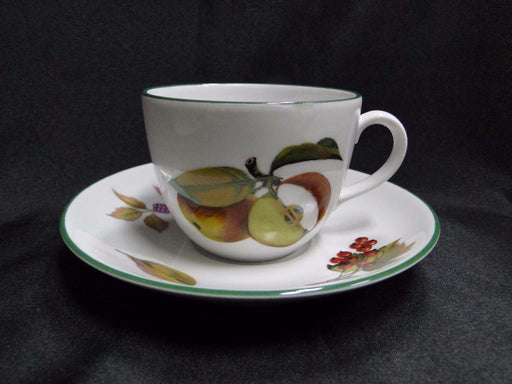 Royal Worcester Evesham Vale, England, Green Trim: Cup & Saucer Set (s), 2 5/8""
