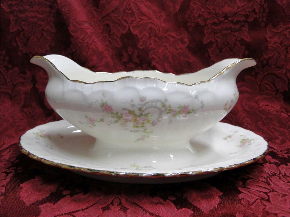 Pope Gosser New Princess 3034, Pink Rose Rim & Center: Gravy w/ Underplate