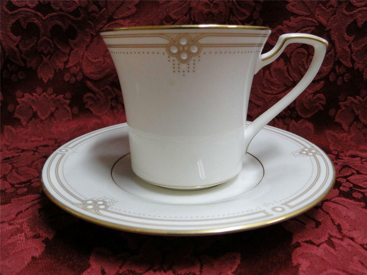 Noritake Satin Gown, Raised Dots, Gold Lines & Trim: Cup & Saucer Set (s)