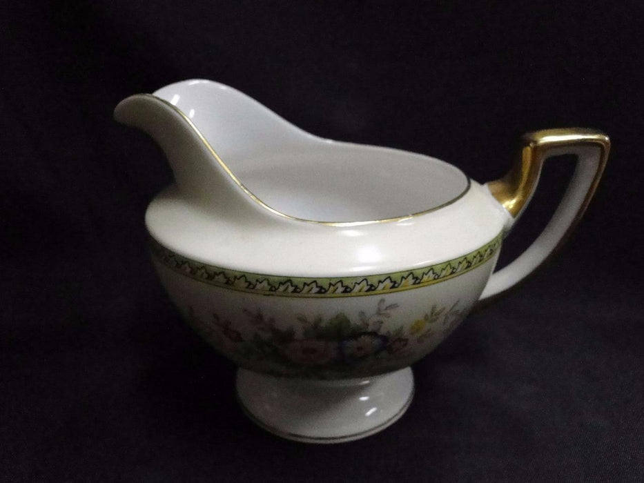 Meito Floral with Green Trim, Gold Edge: Creamer / Cream Pitcher 3 7/8""