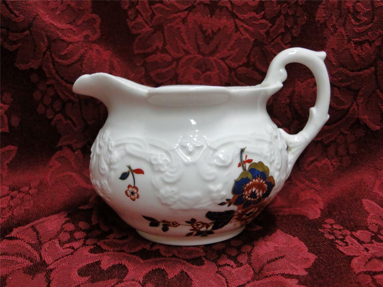 Coalport St Louis, White with Blue,Rust,Gold: Creamer