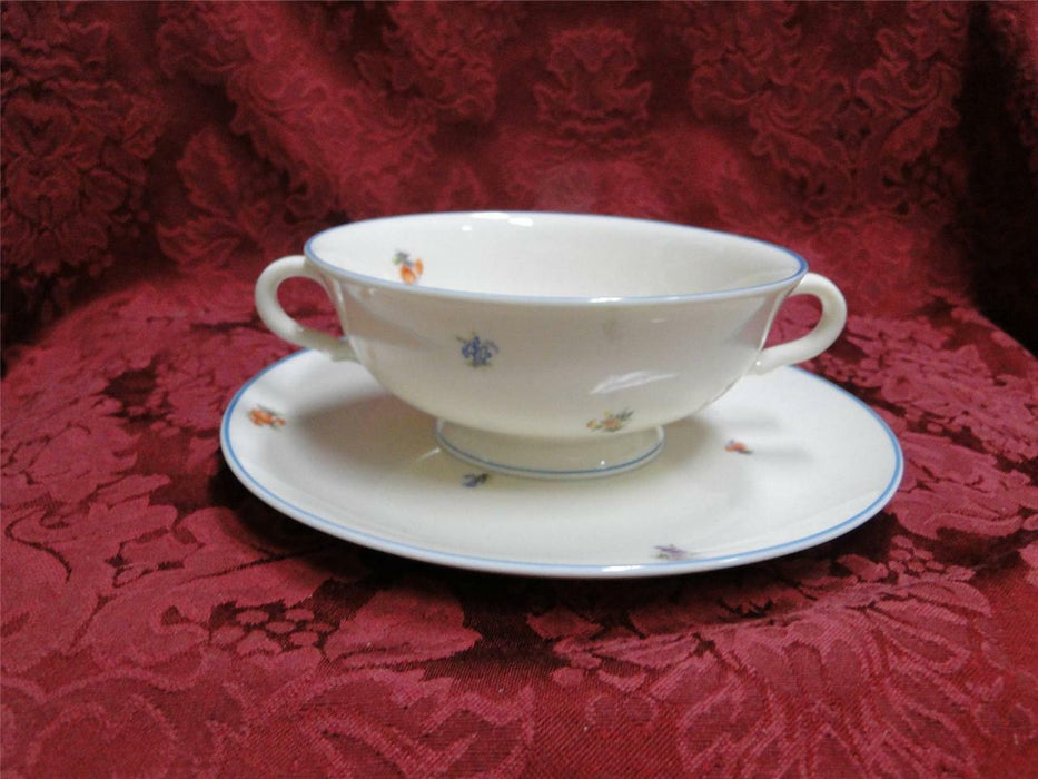 Edgerton Lorraine E220, turquoise trim: Cream Soup with Saucer
