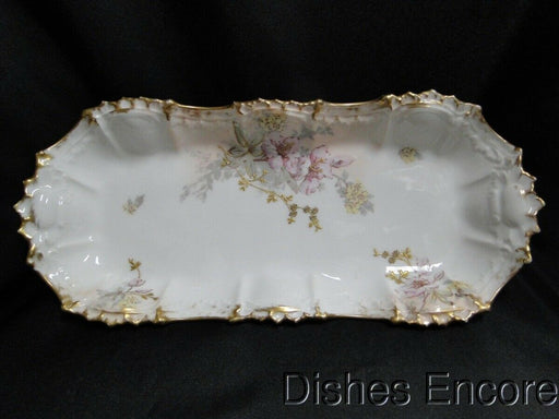 "AK Limoges France: Pink & Yellow Flowers, Gold Trim, Relish 12 1/4"" x 5 1/4"""