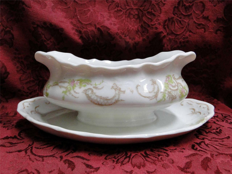 Syracuse 53203, Pink Flowers, Tan Lattice: Gravy Boat w/ Attached Underplate
