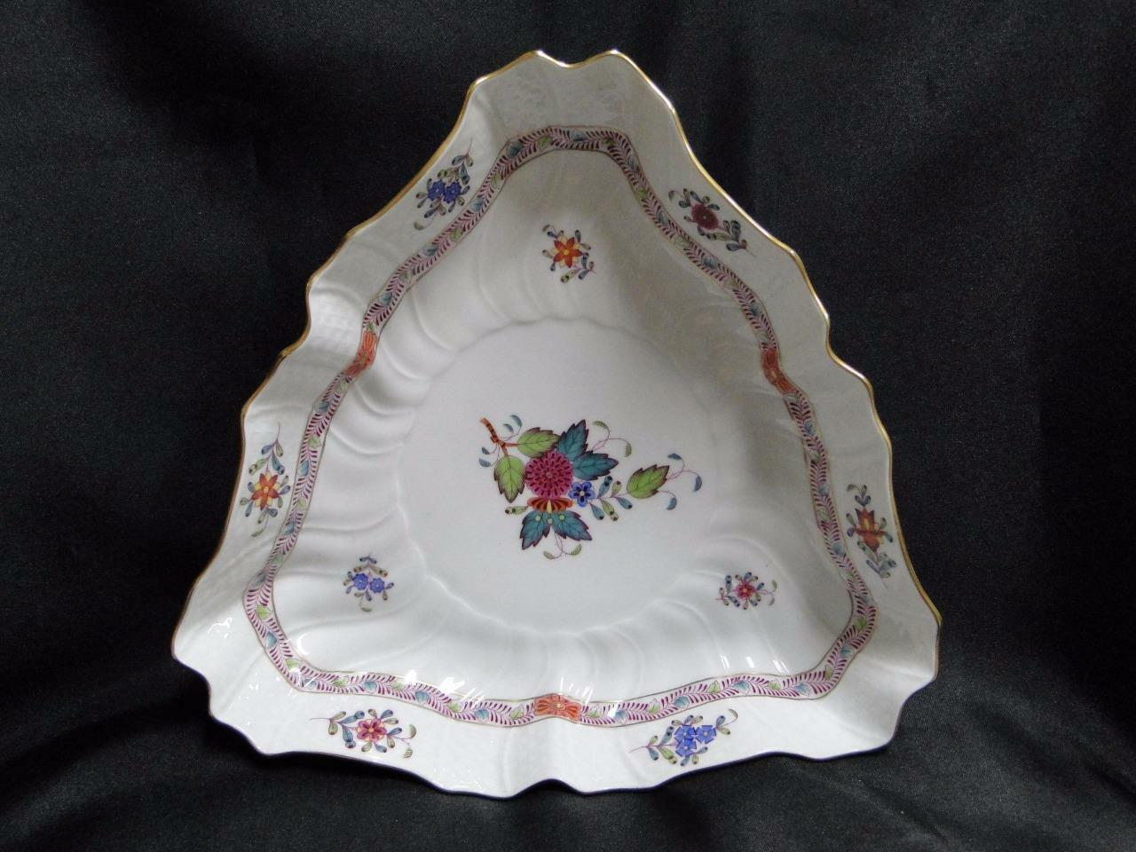 "Herend Chinese Bouquet Multicolor AF: Triangular Serving Bowl 9 1/2"" 1191"