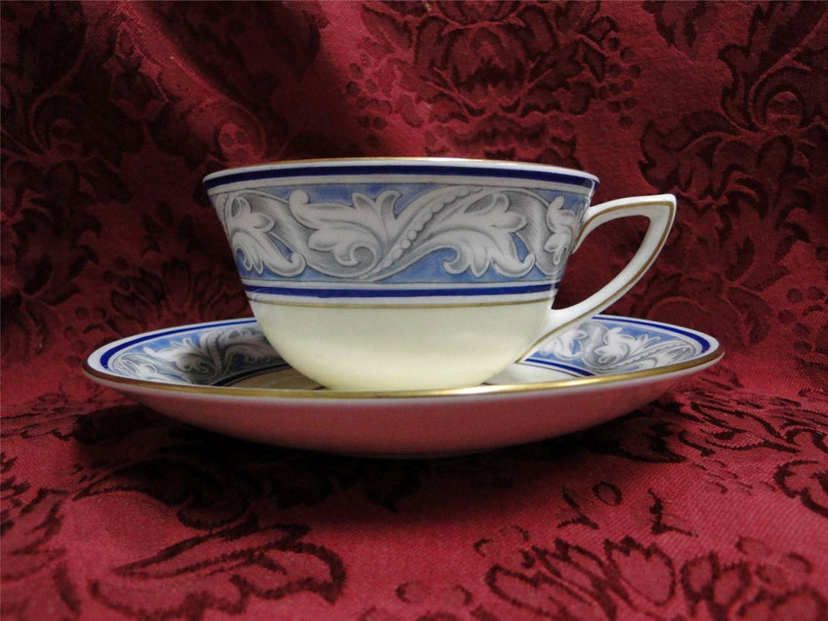 Royal Doulton The Tewkesbury, Scrolls on Blue Rim: Cup & Saucer Set (s)