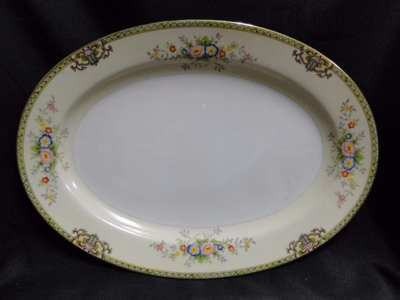 "Meito Floral with Green Trim, Gold Edge: Oval Serving Platter 11 3/4"" x 8 3/8"""