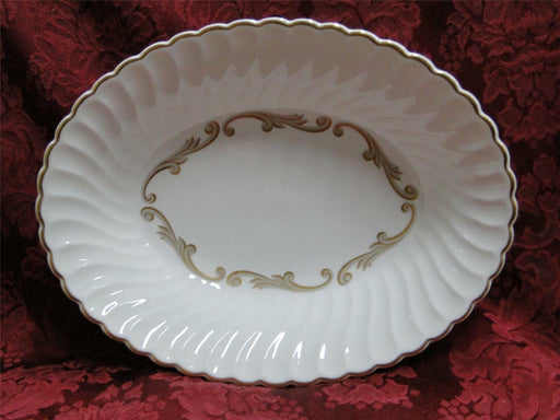 Syracuse Baroque, Gray & Gold Scrolls, Swirl Rim: Oval Vegetable Bowl, 9.75""