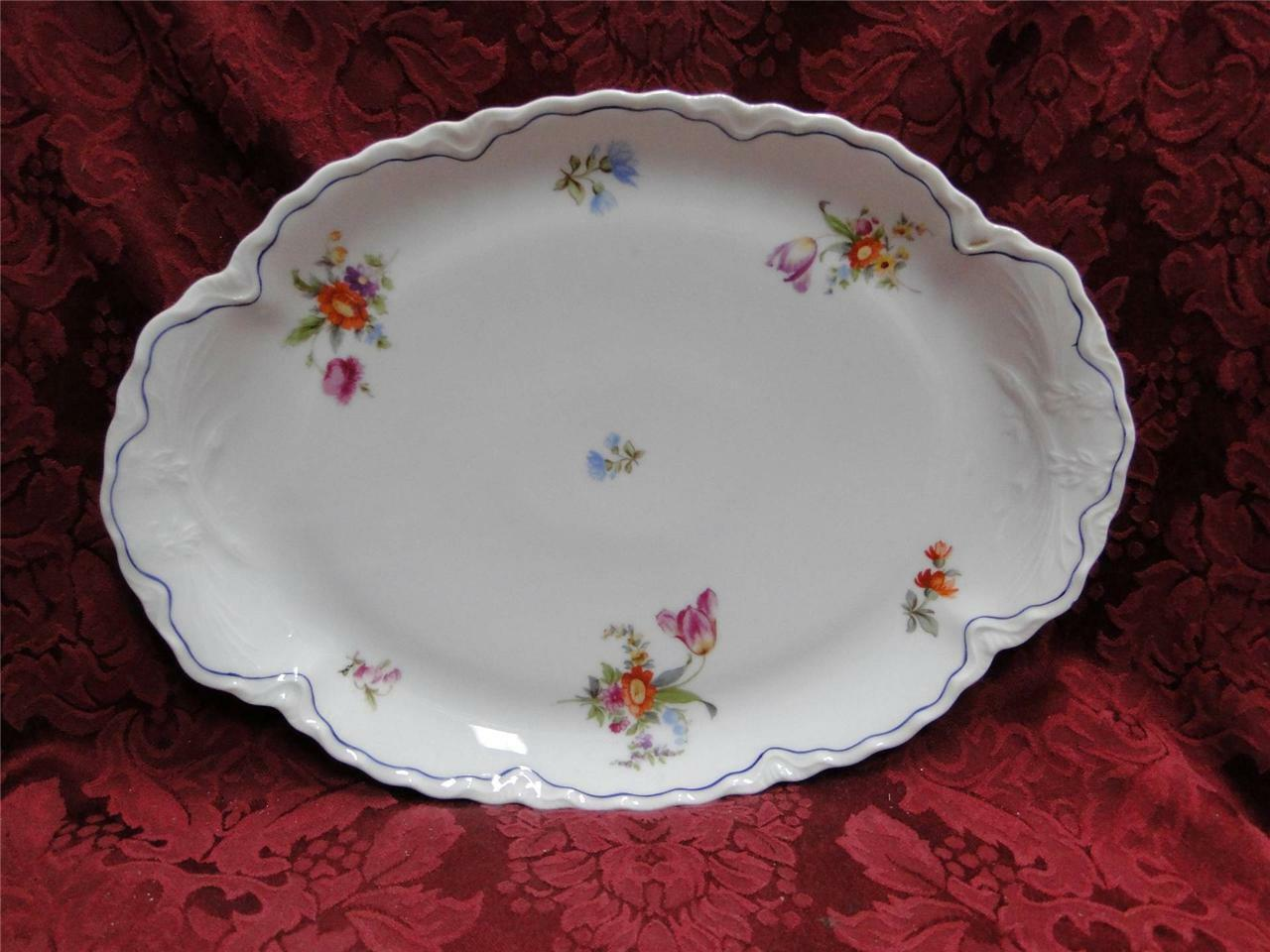 Krautheim/Franconia FR115 Floral with Blue Trim: Oval Serving Platter 12""