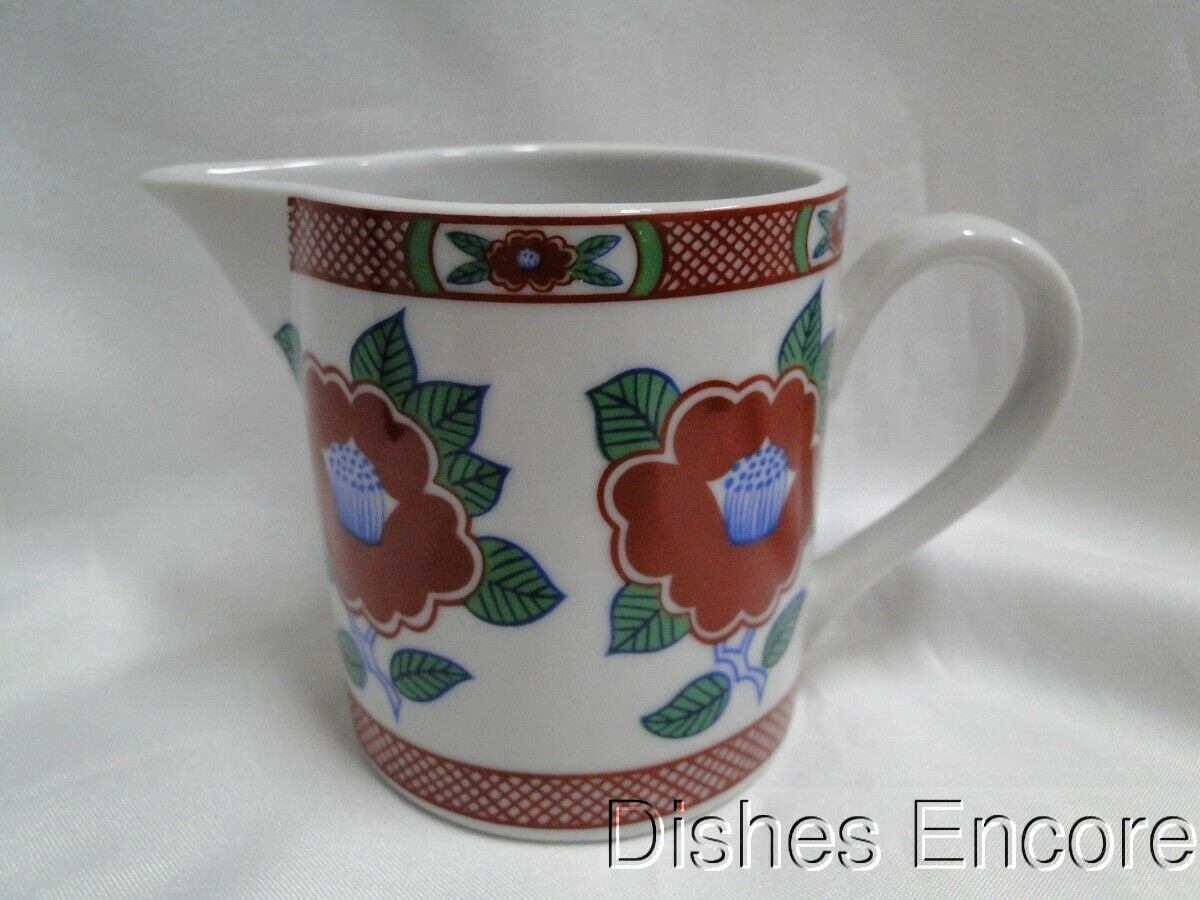 Fitz & Floyd Camellia, White with Red & Green: Cream Pitcher / Creamer 3""