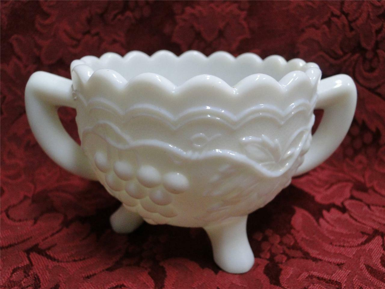 Imperial Glass Vintage Grape Milk Glass: Open Sugar Bowl (3 Toed)