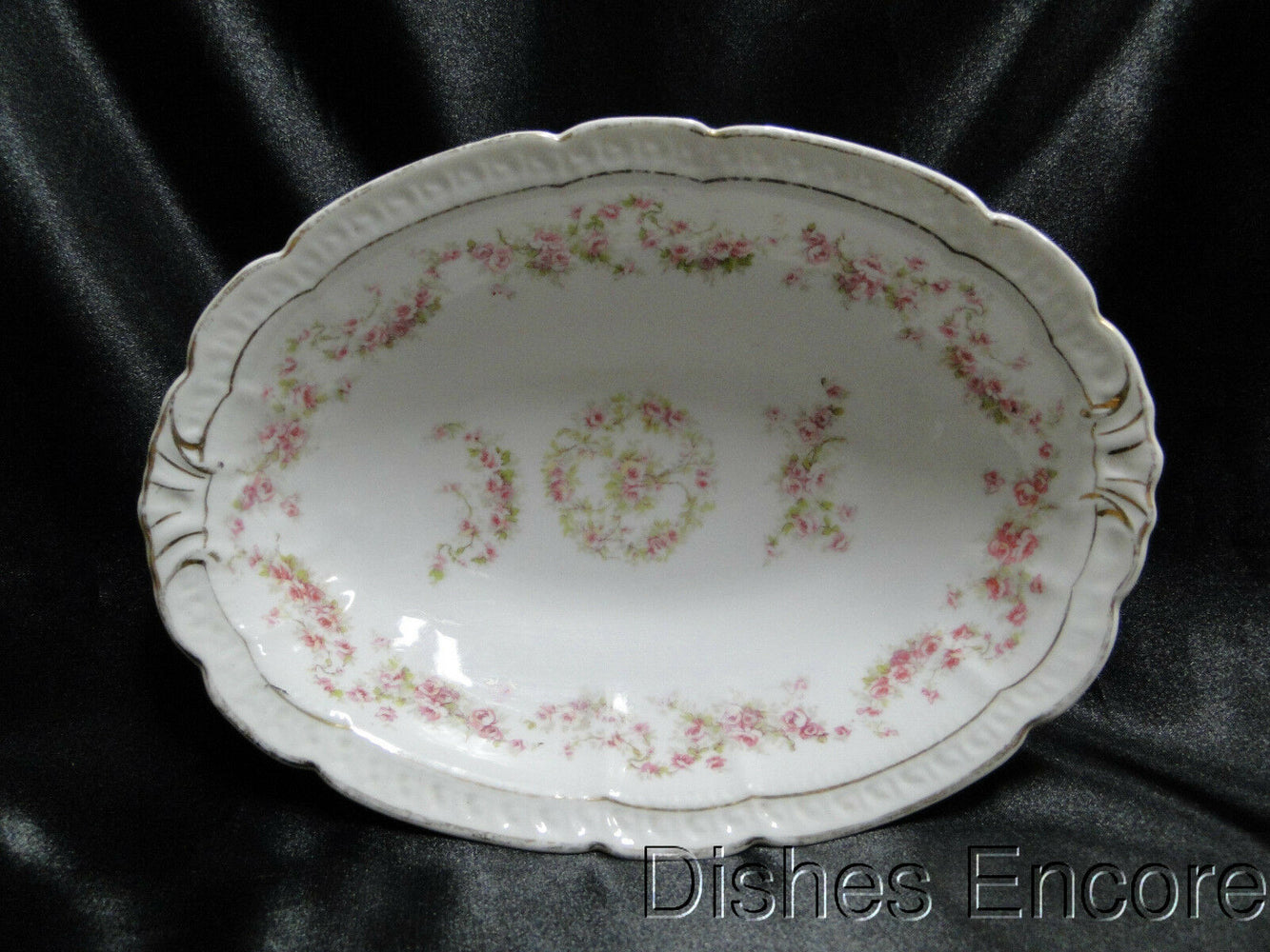 "Zeh, Scherzer & Co 508, Pink Rose Garland: Oval Serving Bowl, 9 5/8"", As Is"