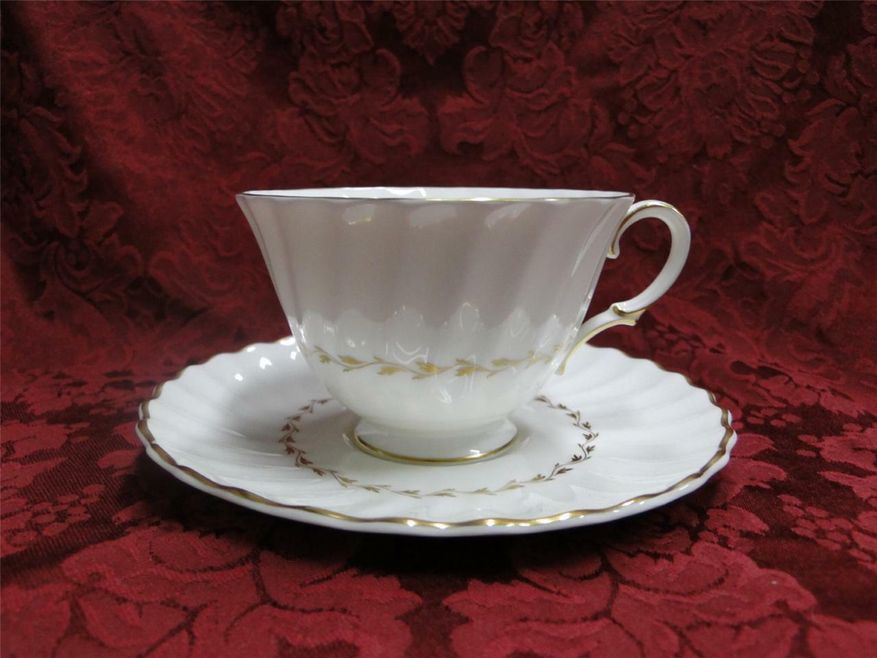 Royal Doulton Adrian, White, Gold Laurel, Swirl Rim: Cup & Saucer Set (s)