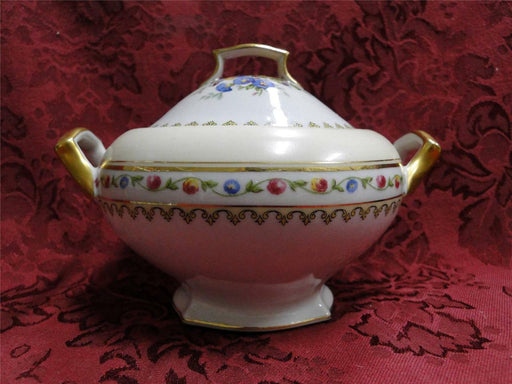Raynaud RYD2: Tan Rim, Floral Center, Rose Trim: Sugar Bowl & Lid