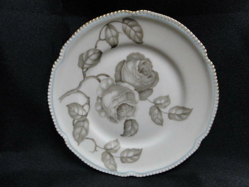 Castleton Gloria, Taupe Roses, Thin Blue Line, Gold Trim: Bread Plate 6 1/2""