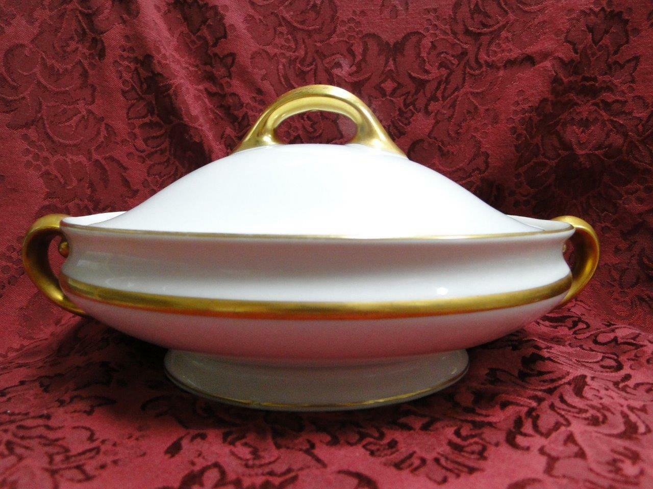Tirschenreuth Colonial, White w/ Smooth Gold Band: Covered Vegetable Bowl, As Is