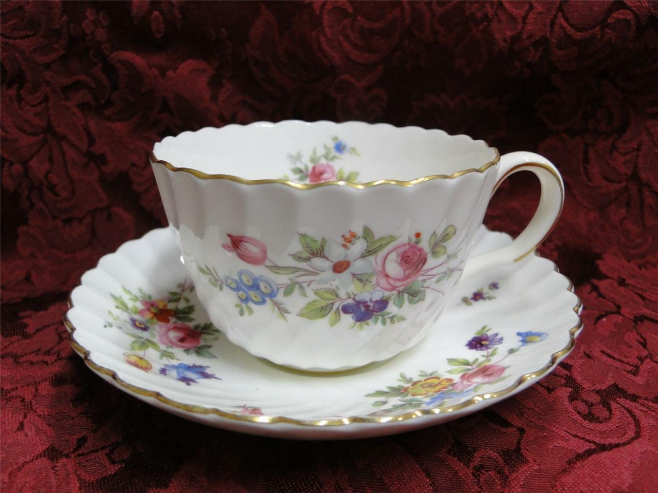Minton Marlow, Floral with Gold Trim: Cup and Saucer Set (s)