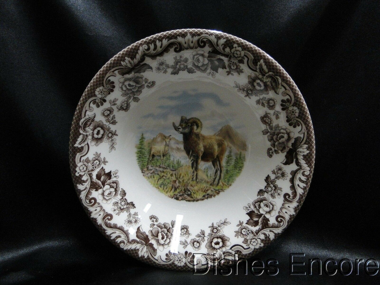 "Spode Woodland Bighorn Sheep, England: NEW Ascot Cereal / Soup Bowl, 8"", Box"