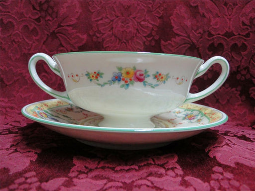 Royal Doulton The Melfont, Green Scrolls, Yellow: Cream Soup Bowl & Saucer (s)