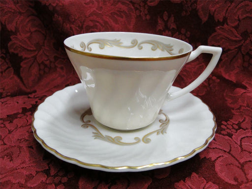 Syracuse Baroque, Gray & Gold Scrolls, Swirl Rim: Cup & Saucer Set (s)