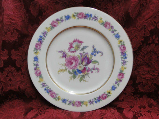Castleton Manor, Multifloral Band and Center, Gold Trim: Dinner Plate (s)10 3/4""