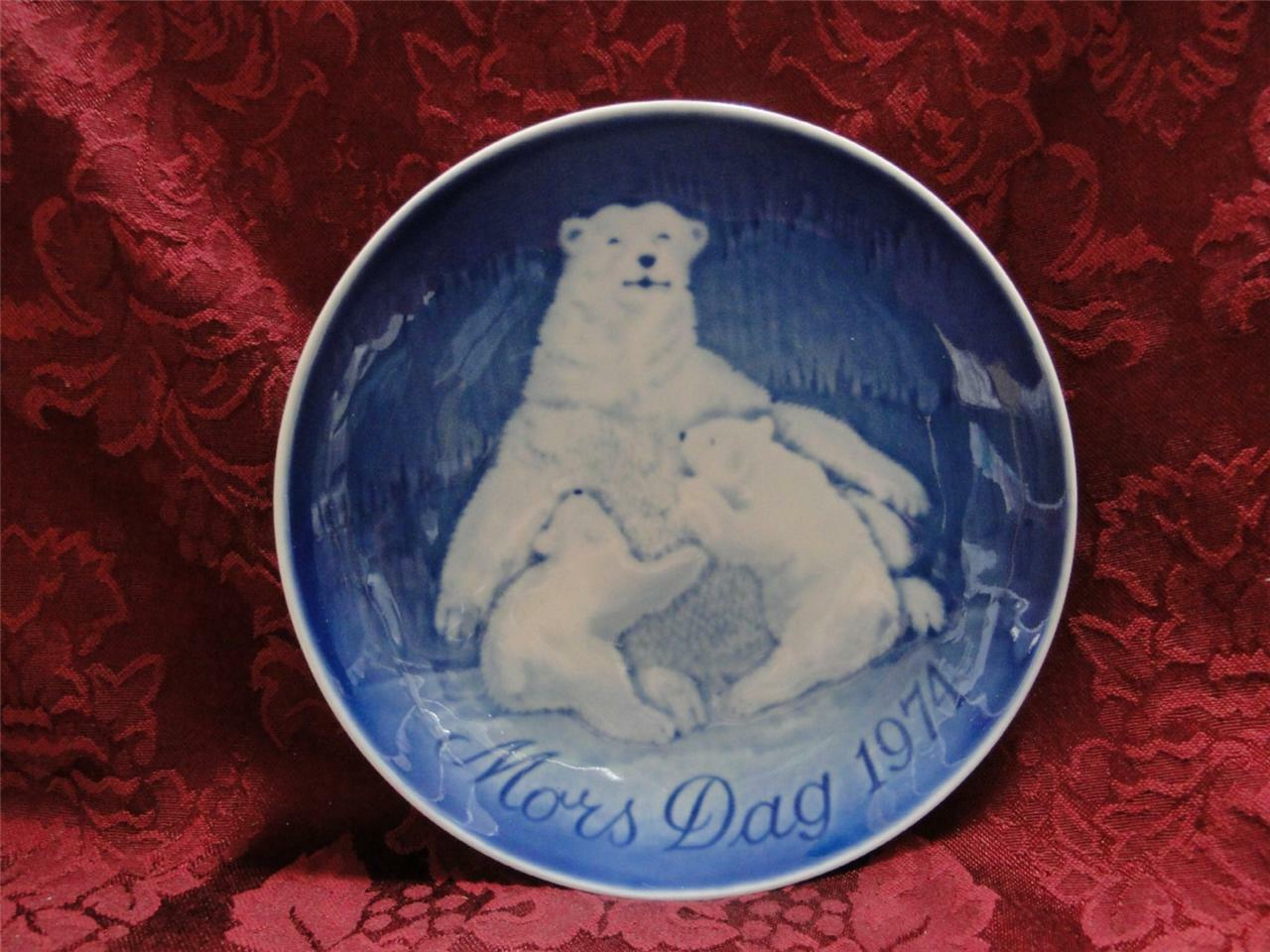 Bing & Grondahl Mother's Day Blue Mors Dag Plate 1974 Bear and Cubs